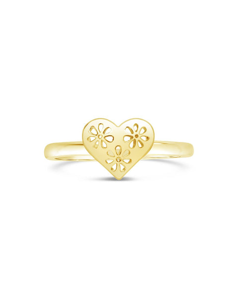 Heart Cut Out Lace Signet Ring Ring Sterling Forever Gold 6