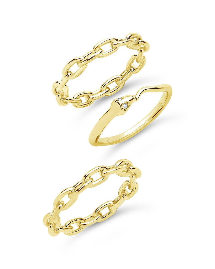 Chain & Snake Stacking Ring Set - Sterling Forever