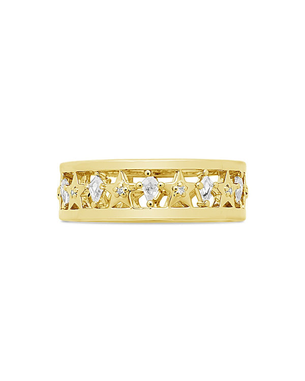 Cut Out Continuous CZ Star Ring Ring Sterling Forever Gold 7
