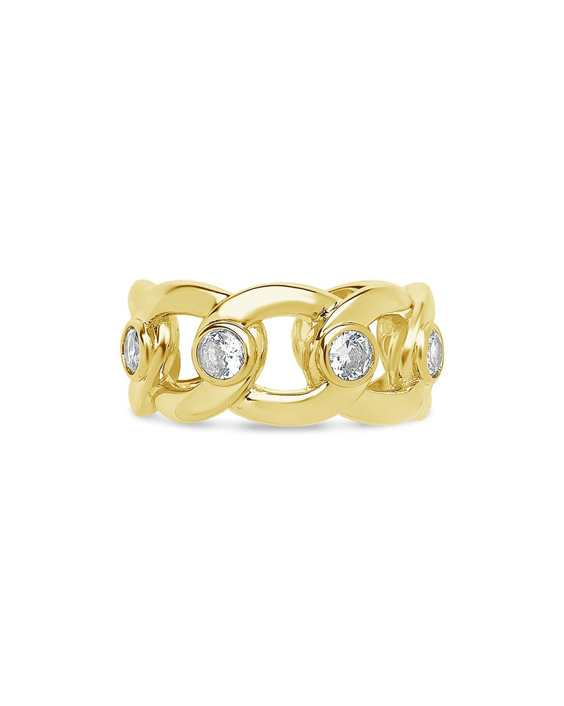 Curb Chain Open Band Ring Ring Sterling Forever Gold