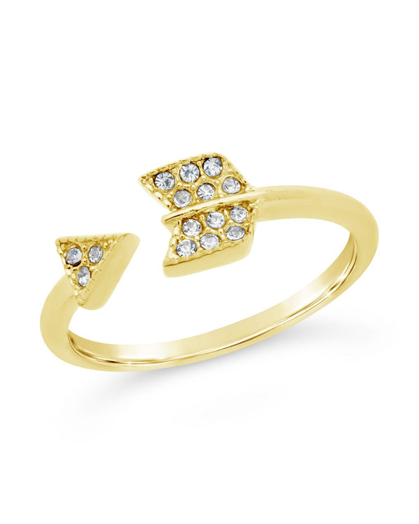 14K Gold Plated Sterling Silver CZ Arrow Ring Ring Sterling Forever