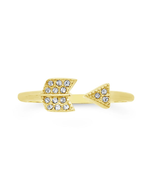 14K Gold Plated Sterling Silver CZ Arrow Ring Ring Sterling Forever Gold 5