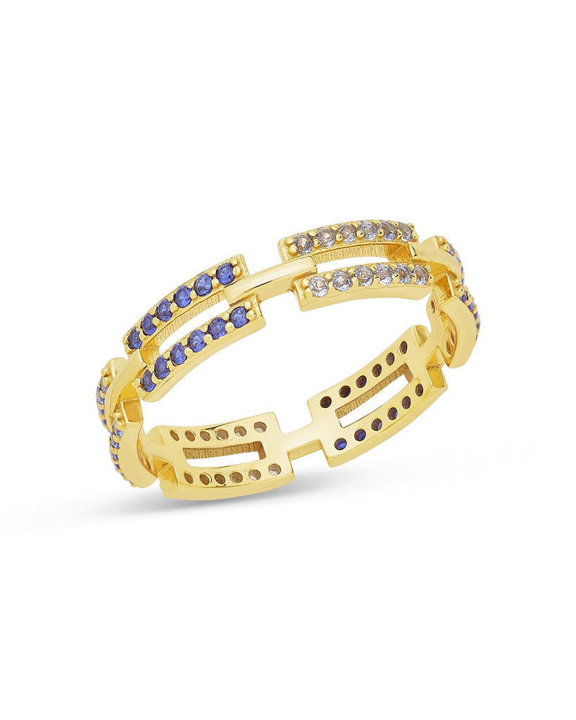 Sapphire Ombre CZ Linked Ring Ring Sterling Forever Gold 6