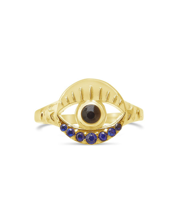Sterling Silver Evil Eye and Moon Signet Ring Ring Sterling Forever Gold 6