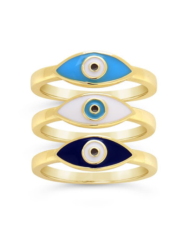 3-Piece Gold Plated Evil Eye Ring Set Ring Sterling Forever
