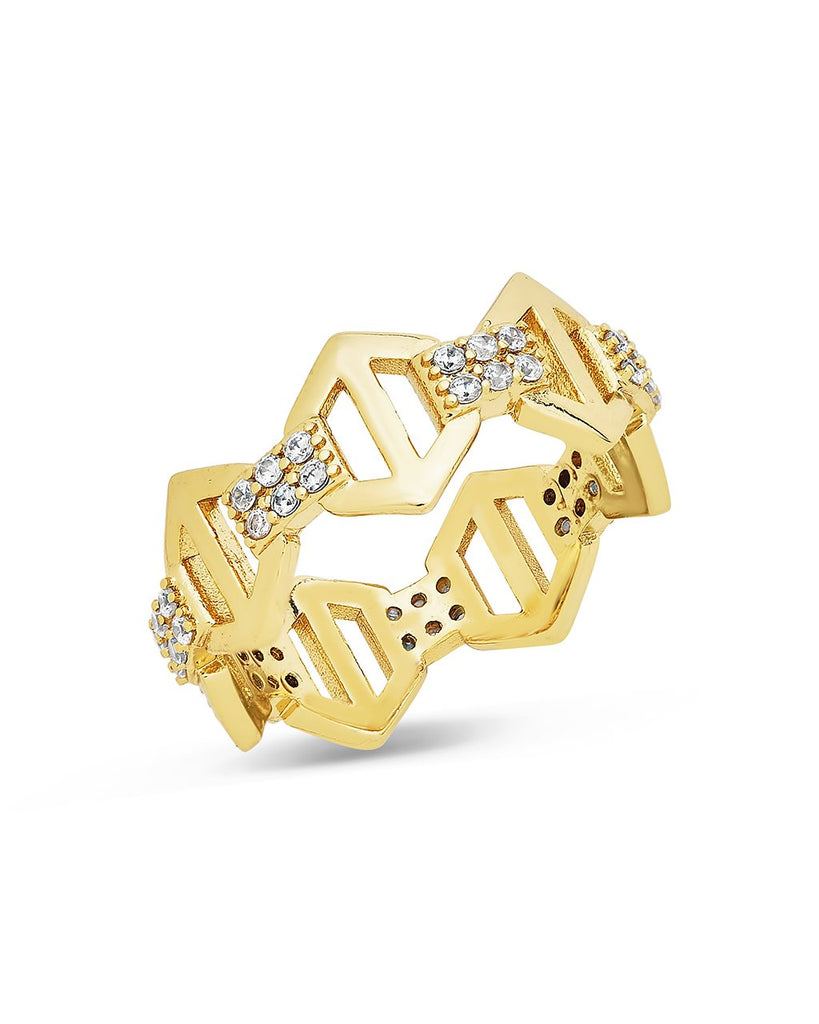 Hexagon Anchor Chain Ring Ring Sterling Forever Gold 6