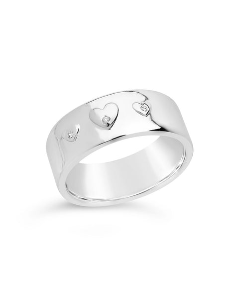 CZ Engraved Heart Band Ring Ring Sterling Forever