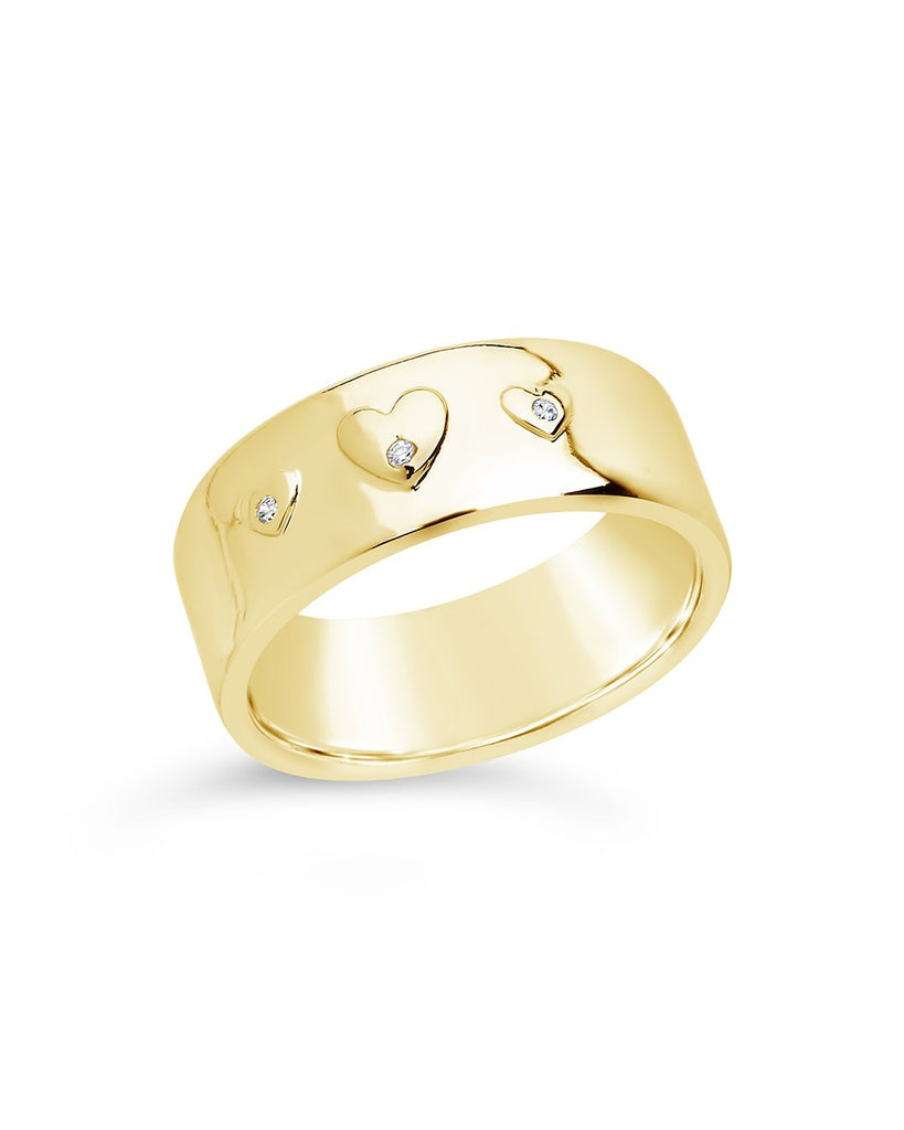 CZ Engraved Heart Band Ring - Sterling Forever