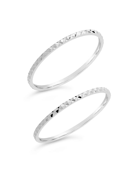 Sterling Silver Diamond Cut Ring Set of 2 - Sterling Forever