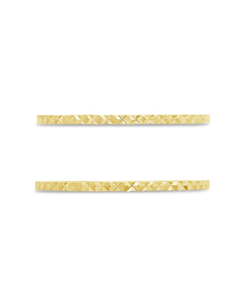 Sterling Silver Diamond Cut Ring Set of 2 Ring Sterling Forever Gold 6