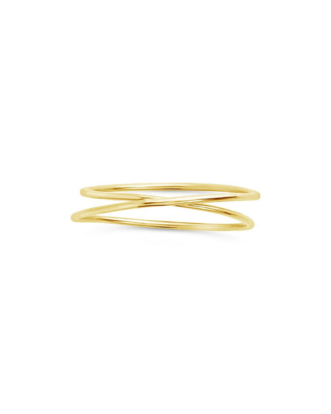 Sterling Silver 2 Layer Ring Ring Sterling Forever Gold 6