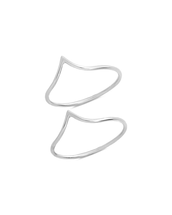 Sterling Silver Chevron Stacking Ring Set of 2 - Sterling Forever