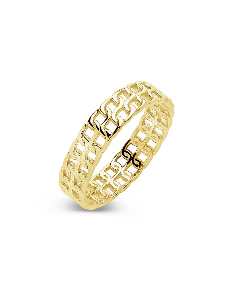 14K Gold Vermeil 2 Row Chain Ring - Sterling Forever