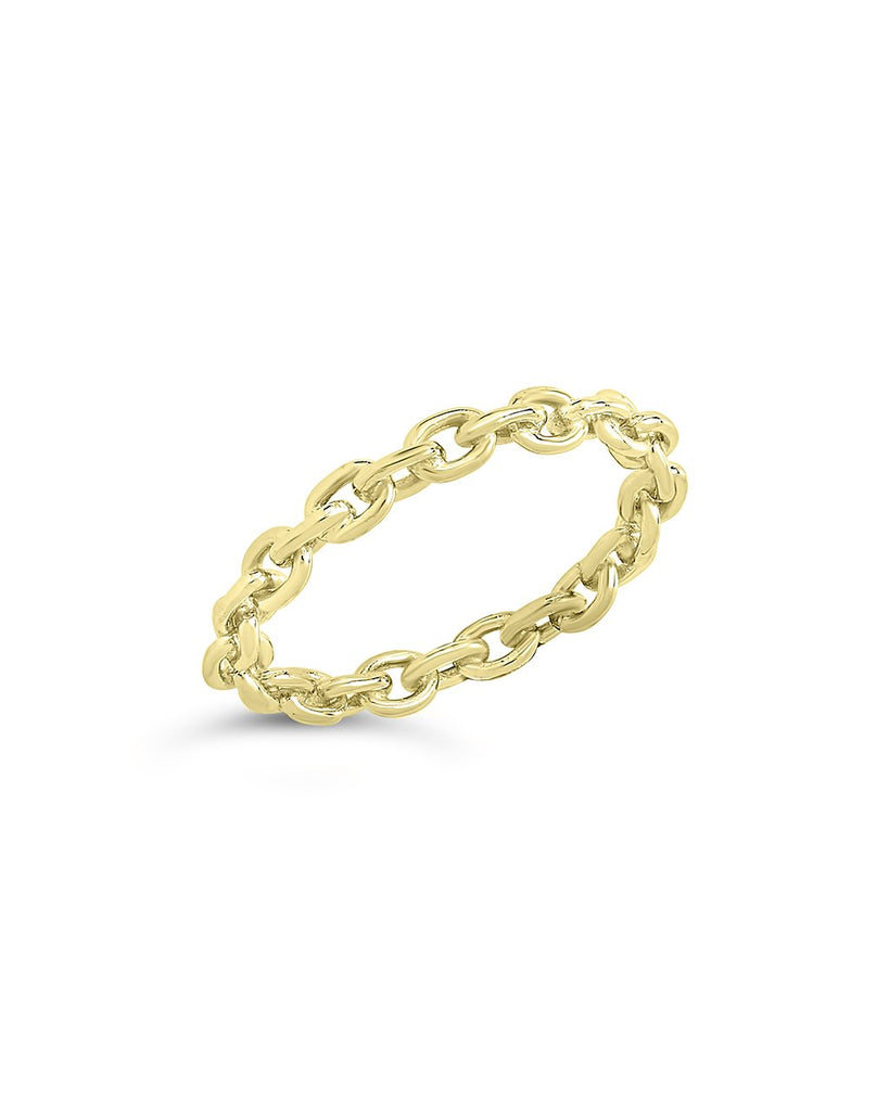Sterling Silver Continuous Chain Link Ring Ring Sterling Forever Gold 6