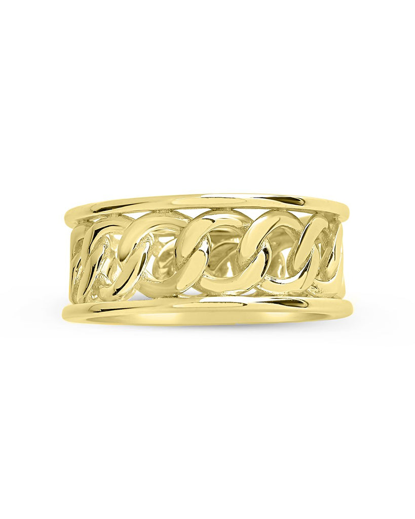 Sterling Silver Curb Chain Band Ring Ring Sterling Forever Gold 6