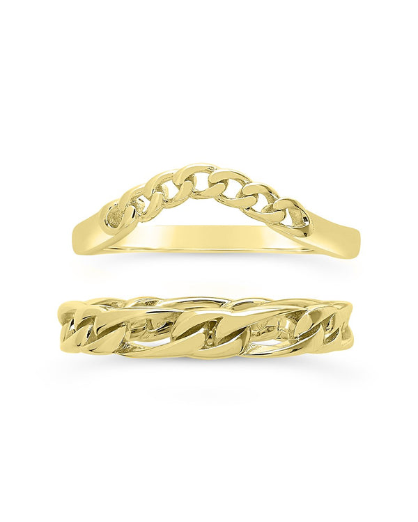 Sterling Silver Figaro & Curb Chain Link Ring Set Ring Sterling Forever Gold 6