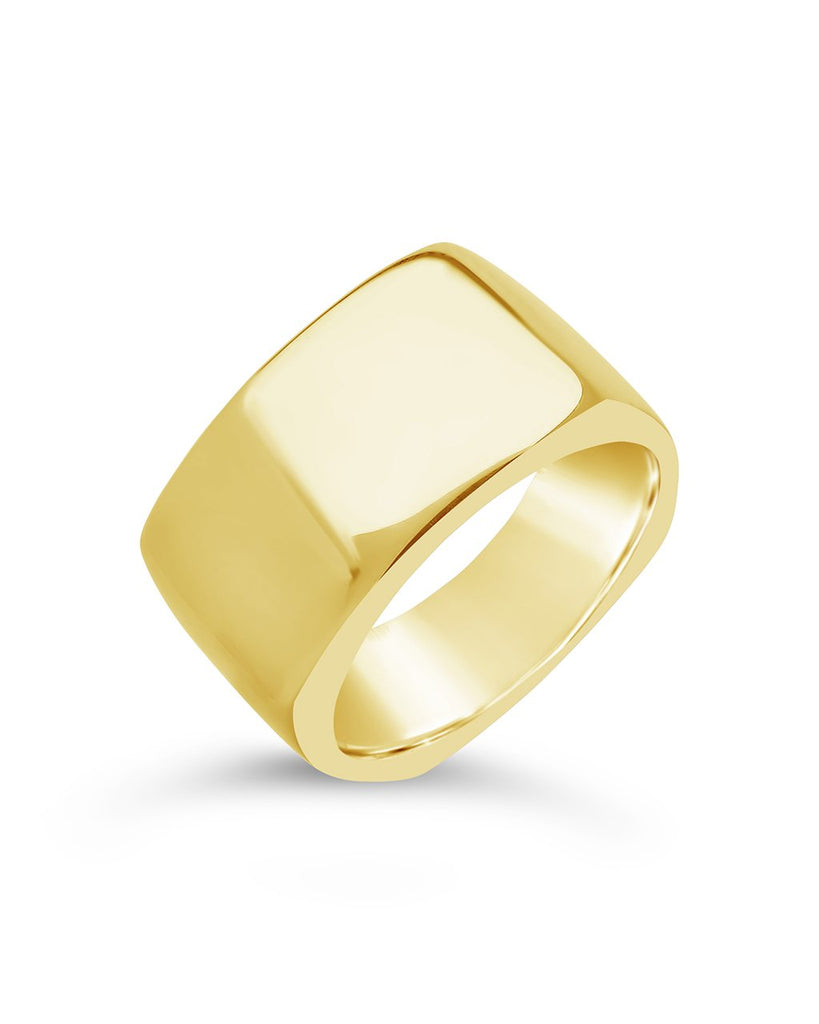 Sterling Silver Square Signet Ring Ring Sterling Forever Gold 6