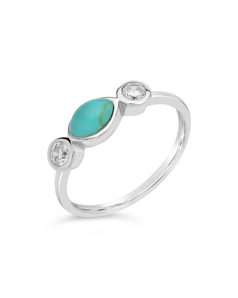 Sterling Silver Turquoise Marquise Band Ring Ring Sterling Forever