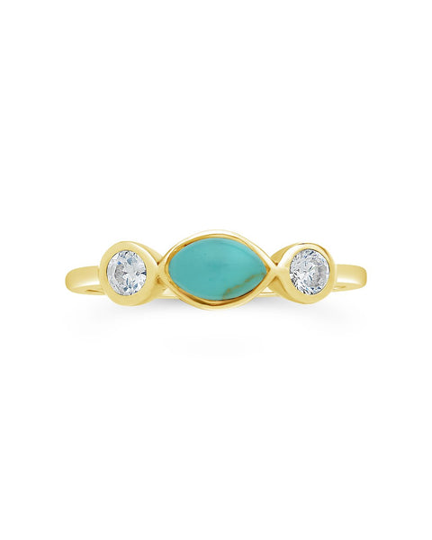 Sterling Silver Turquoise Marquise Band Ring Ring Sterling Forever Gold 6