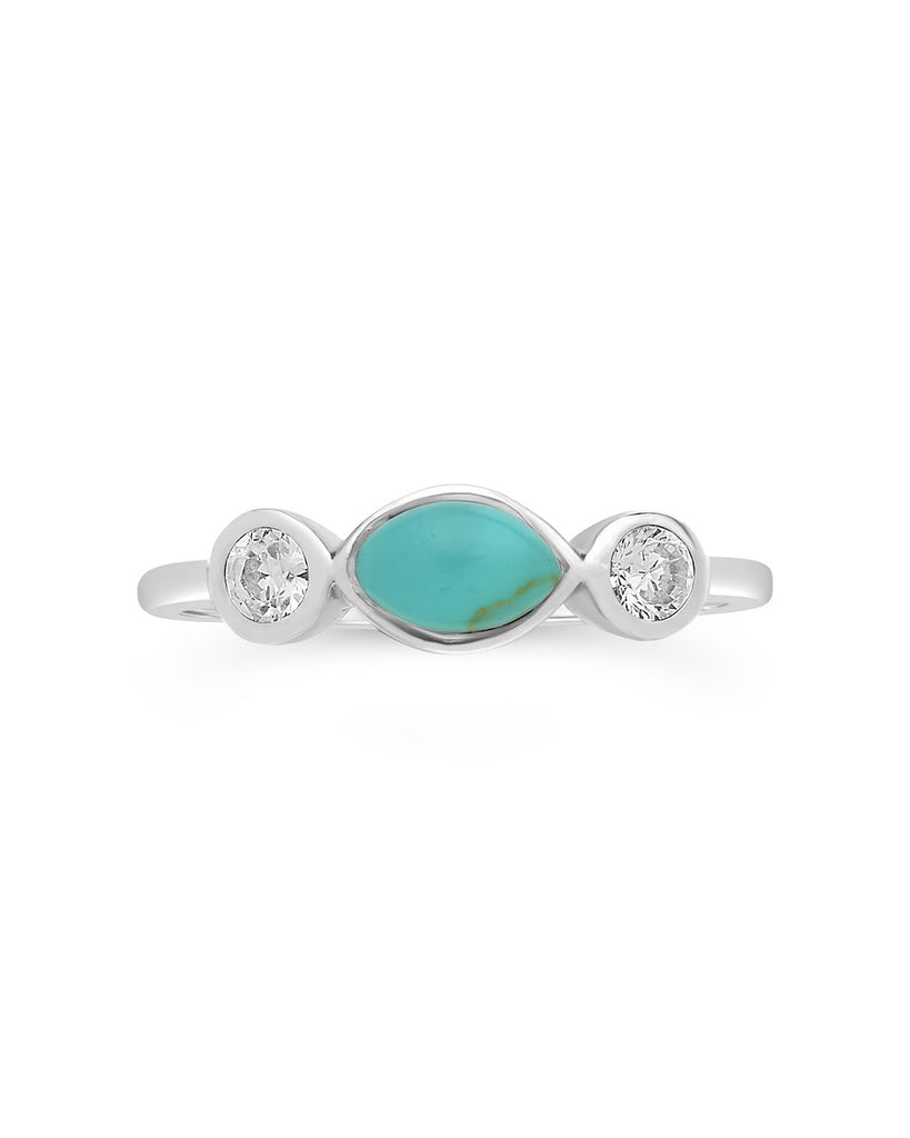 Sterling Silver Turquoise Marquise Band Ring - Sterling Forever