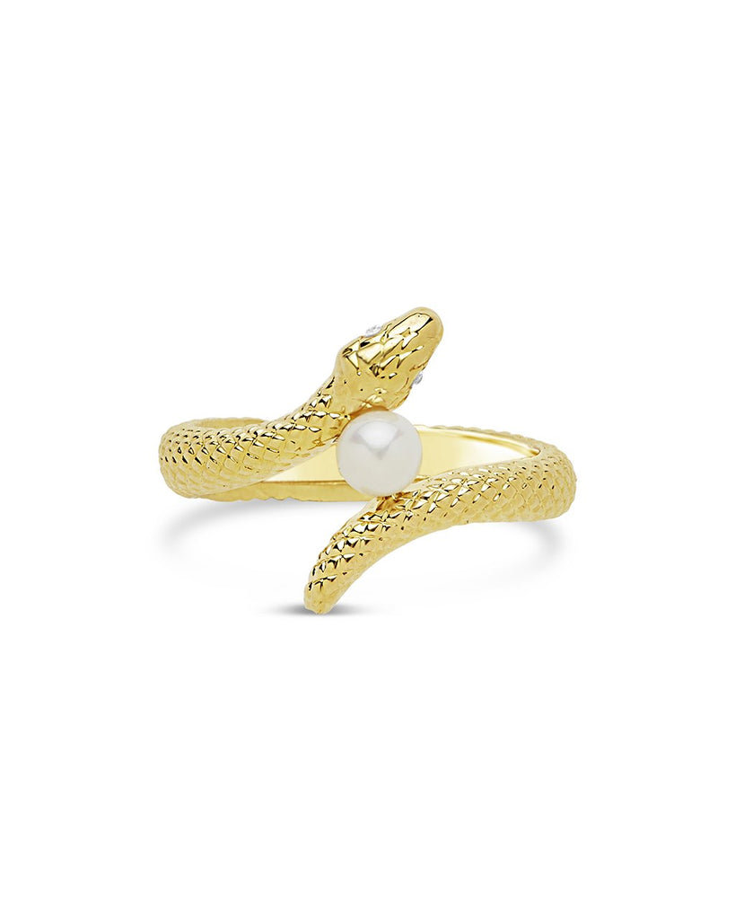 Entwined Serpent & Pearl Ring - Sterling Forever
