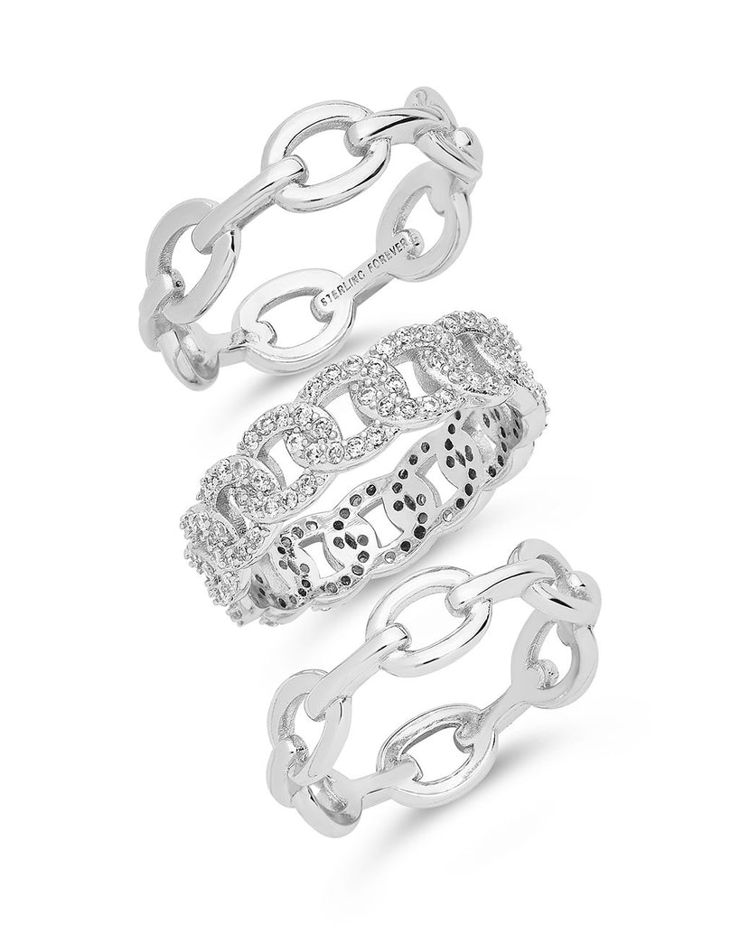 Mixed Link Stacking Ring Set of 3 Ring Sterling Forever