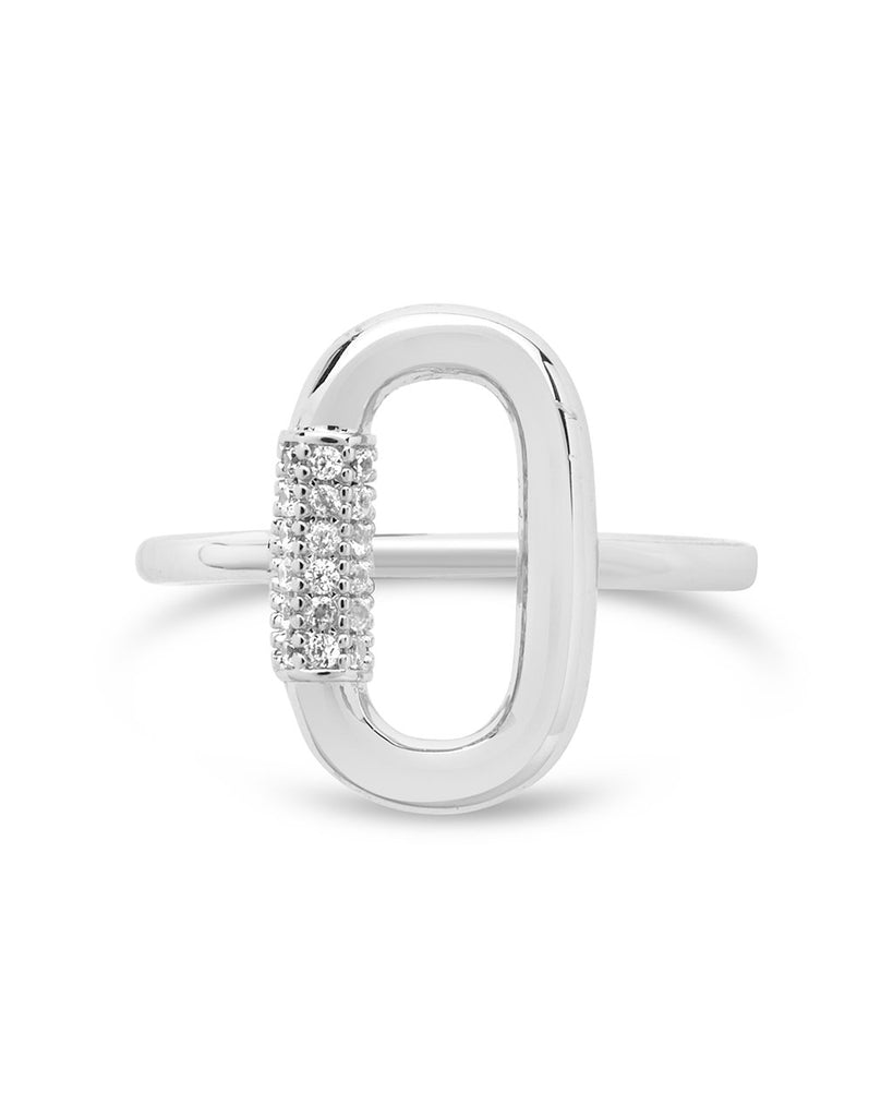 CZ Carabiner Ring Ring Sterling Forever Silver 6