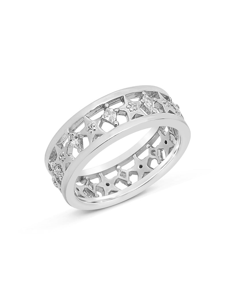 Cut Out Continuous CZ Star Ring Ring Sterling Forever