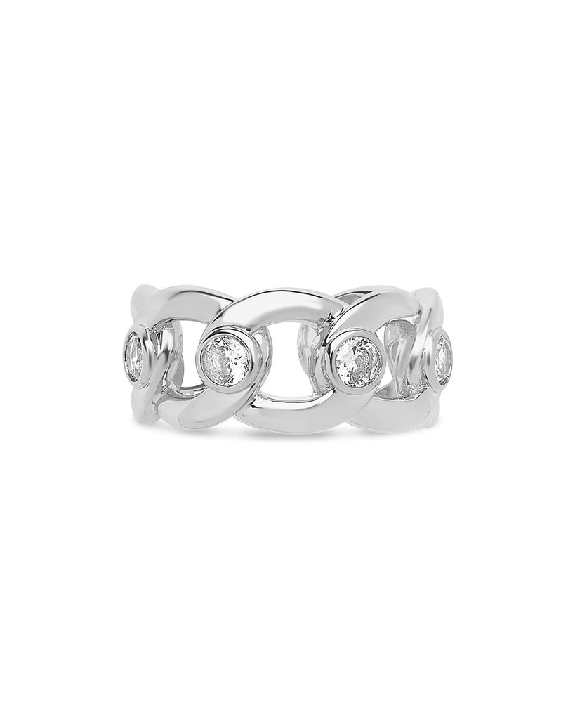 Curb Chain Open Band Ring Ring Sterling Forever Silver