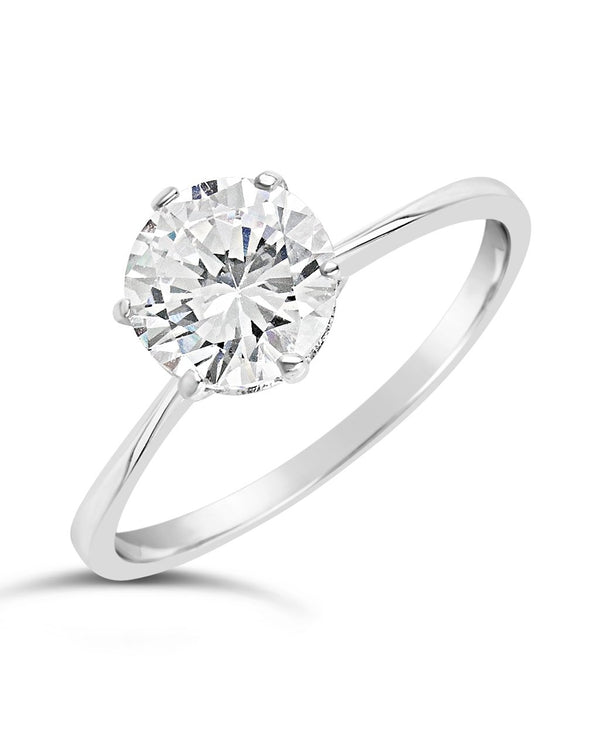 Sterling Silver Solitaire Cubic Zirconia Engagement Ring Ring Sterling Forever