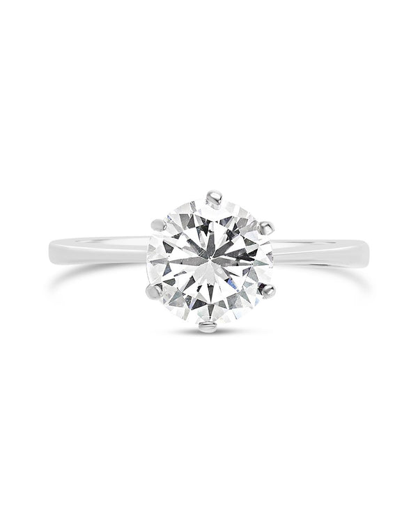 Sterling Silver Solitaire Cubic Zirconia Engagement Ring Ring Sterling Forever Silver 5