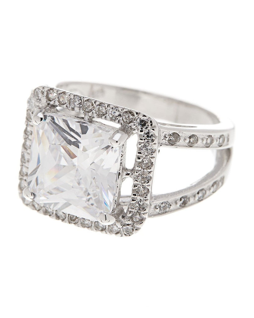 Sterling Silver Princess Cut CZ Halo Ring Ring Sterling Forever