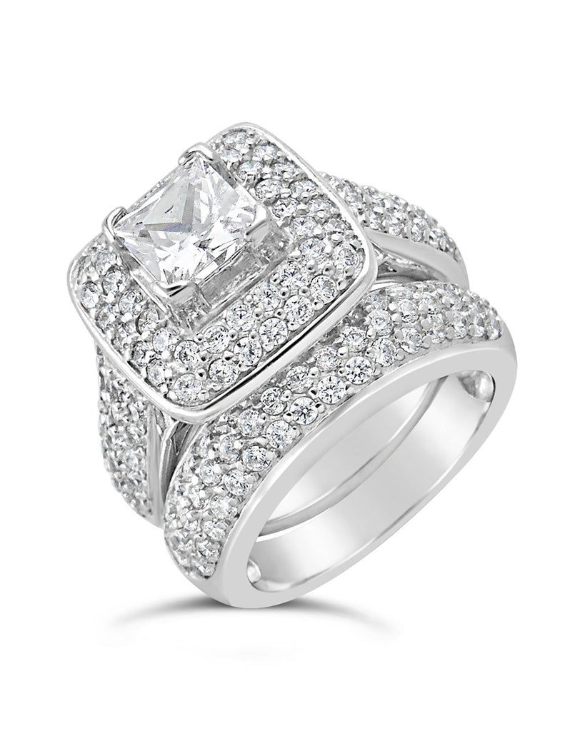 Sterling Silver Princess CZ Ring w/ Curved Cz Band Ring Sterling Forever