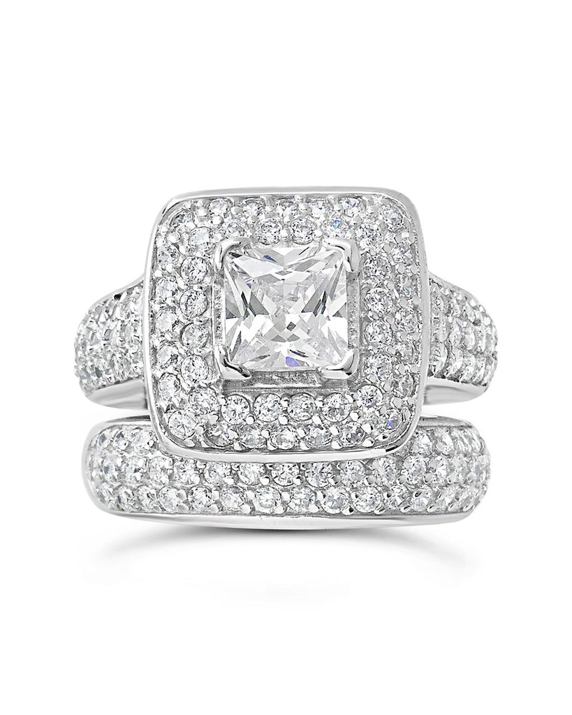 Sterling Silver Princess CZ Ring w/ Curved Cz Band Ring Sterling Forever Silver 5