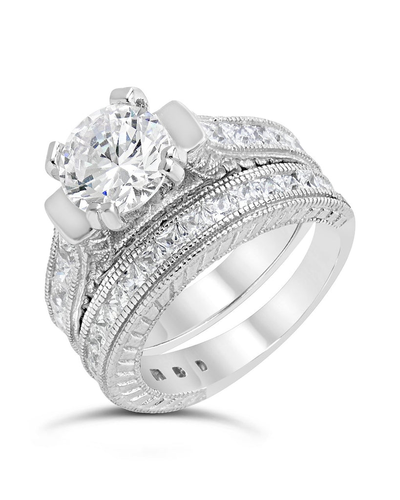 Sterling Silver Brilliant CZ Engraved Ring Set Ring Sterling Forever