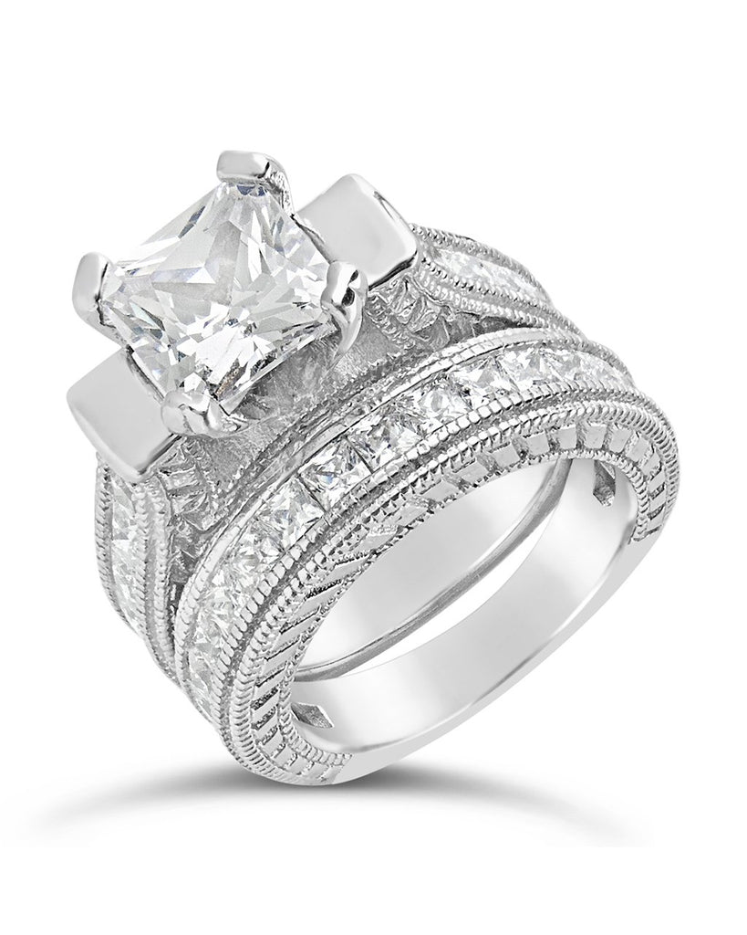 Sterling Silver Princess Cut CZ Engraved Ring Set of 2 Ring Sterling Forever