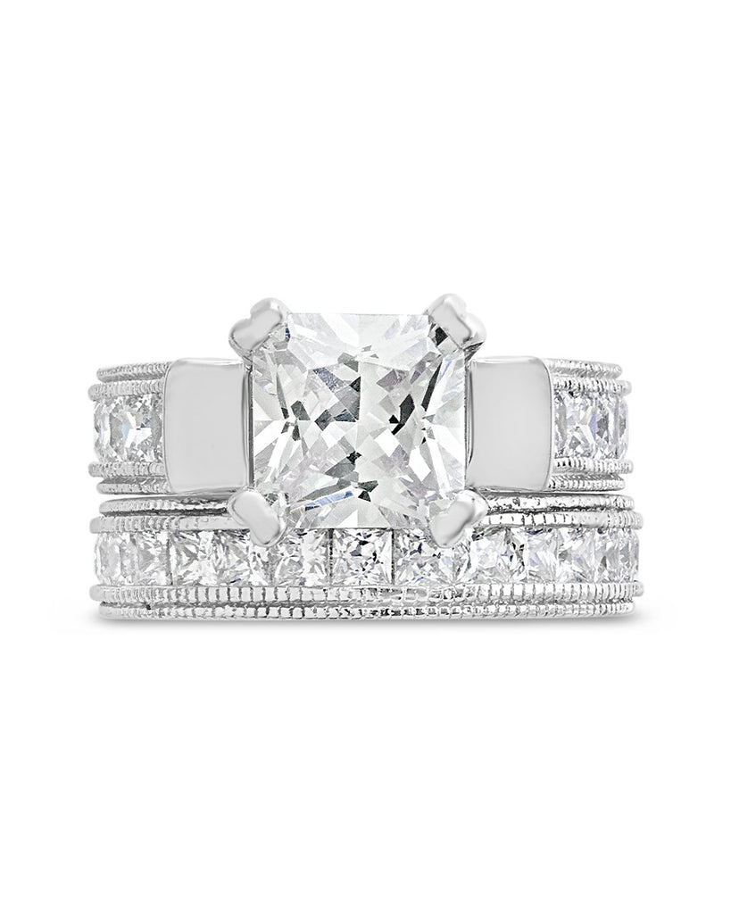 Sterling Silver Princess Cut CZ Engraved Ring Set of 2 Ring Sterling Forever 5
