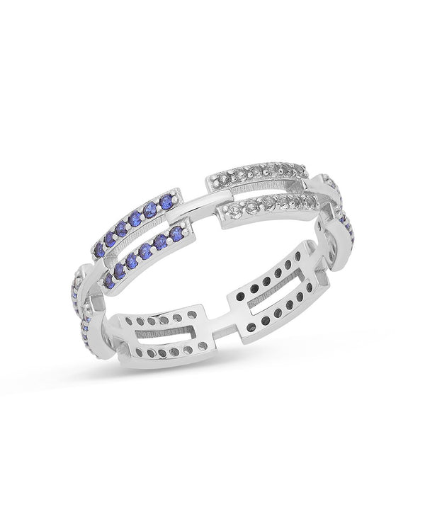 Sapphire Ombre CZ Linked Ring Ring Sterling Forever Silver 6