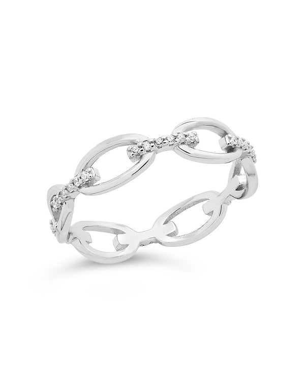 Sterling Silver Open Chain Link Ring Ring Sterling Forever Silver 6