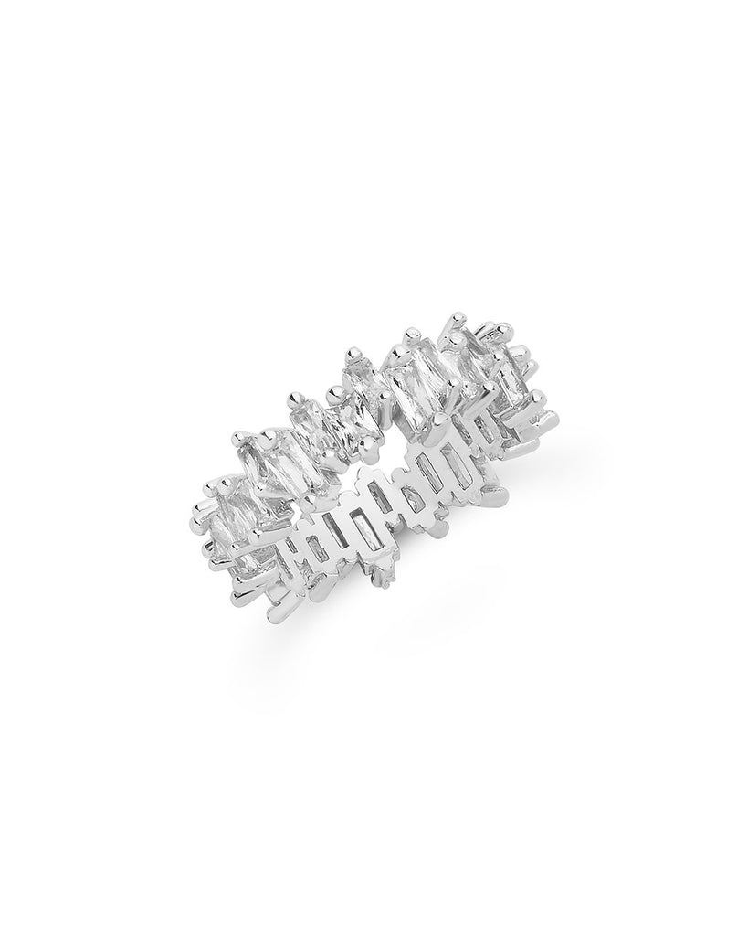 Sterling Silver CZ Staggered Eternity Band Ring Sterling Forever