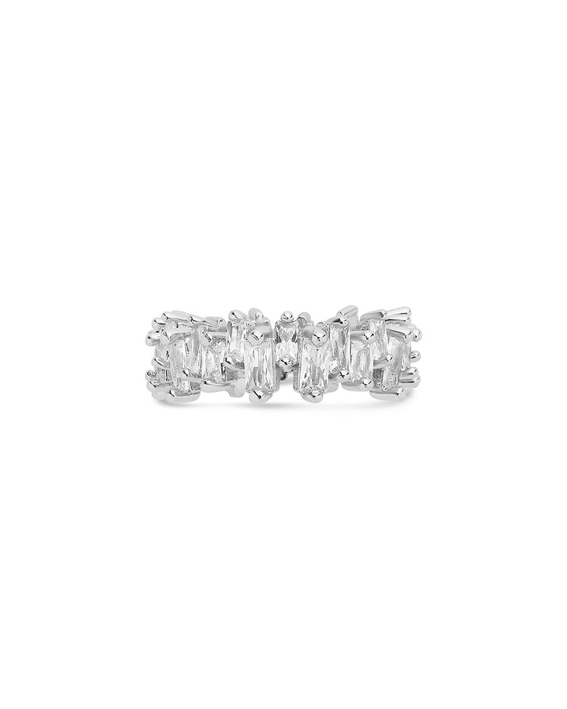 Sterling Silver CZ Staggered Eternity Band Ring Sterling Forever Silver 6