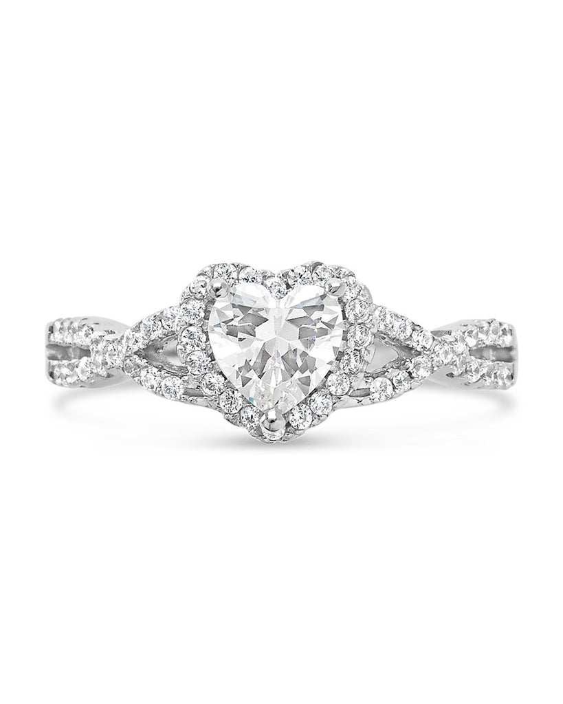 Sterling Silver Heart CZ Engagement Ring Ring Sterling Forever Silver 5
