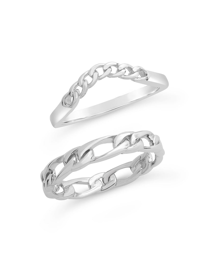 Sterling Silver Figaro & Curb Chain Link Ring Set Ring Sterling Forever