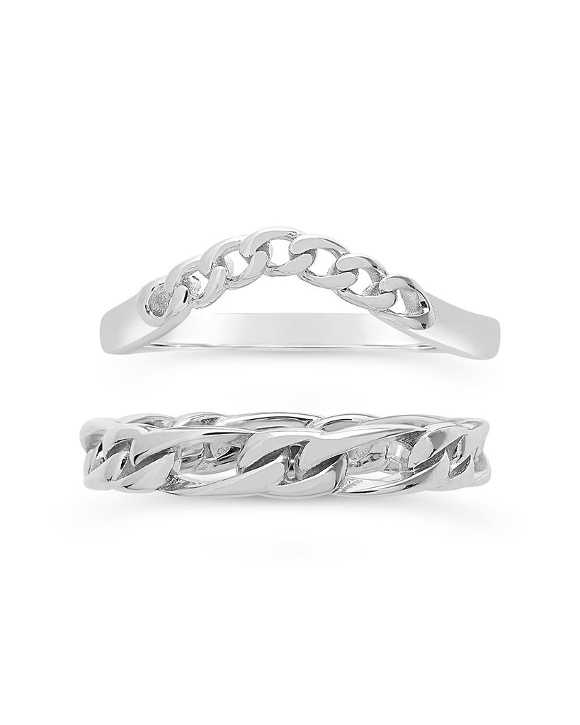 Sterling Silver Figaro & Curb Chain Link Ring Set Ring Sterling Forever Silver 6