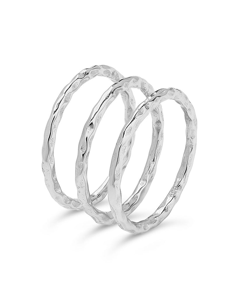 Textured Triple Band Ring Set Ring Sterling Forever