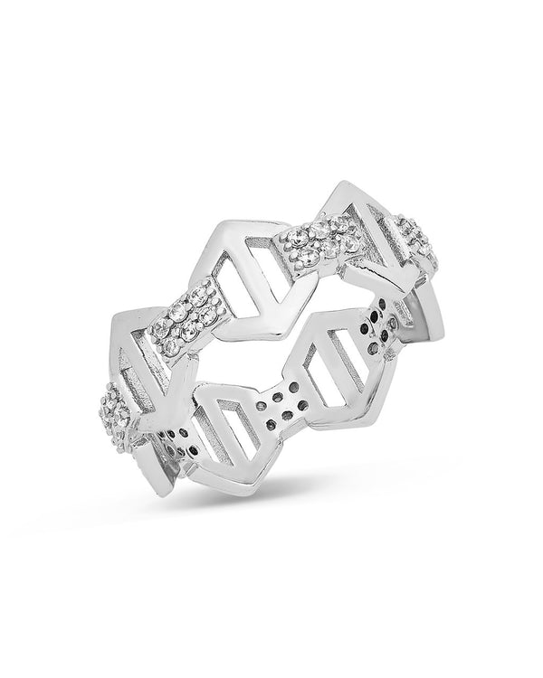 Hexagon Anchor Chain Ring Ring Sterling Forever Silver 6