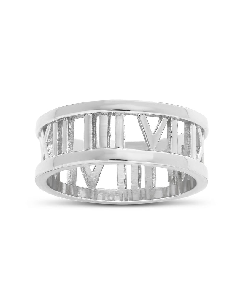 Sterling Silver Roman Numeral Band Ring Ring Sterling Forever