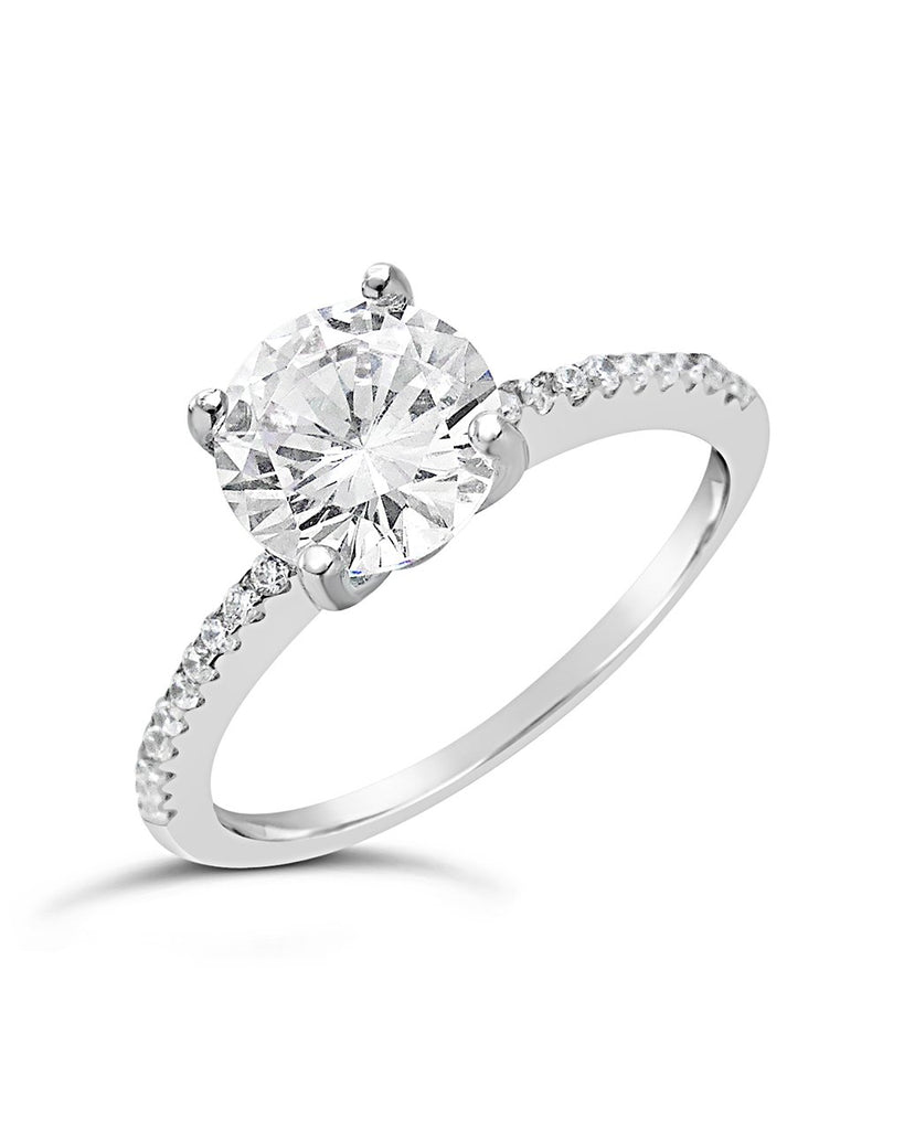 Sterling Silver Brilliant CZ Ring with CZ Accented Shank Ring Sterling Forever