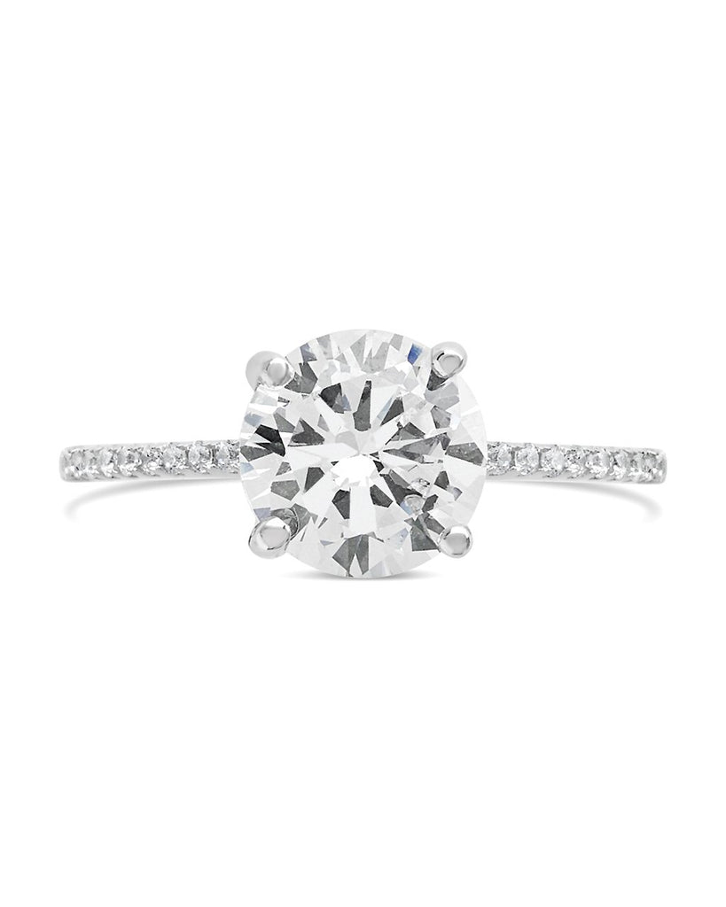 Sterling Silver Brilliant CZ Ring with CZ Accented Shank Ring Sterling Forever Silver 5