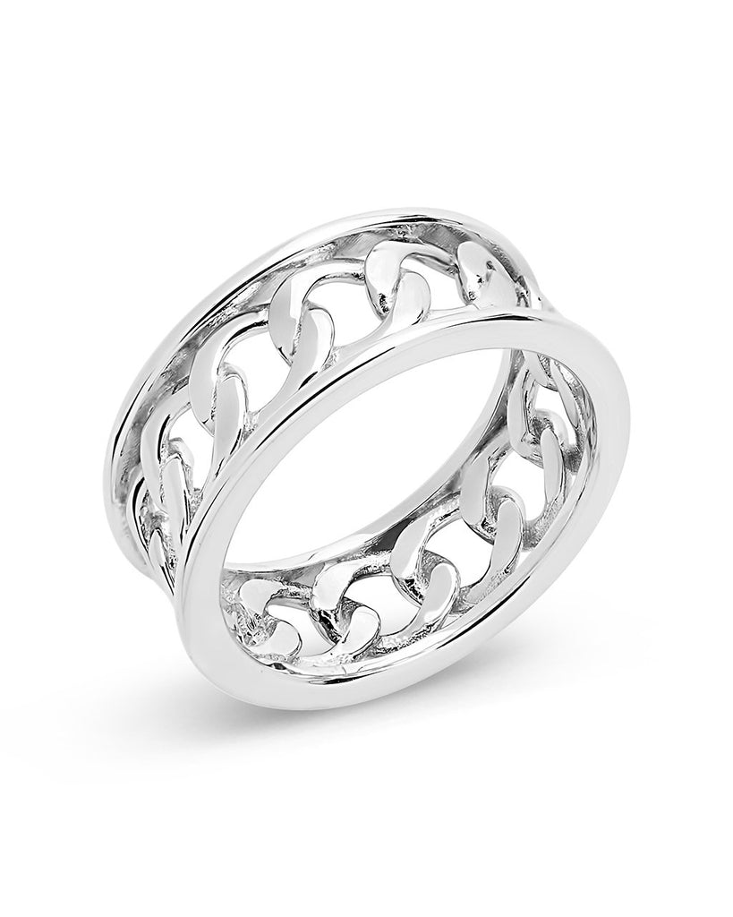 Sterling Silver Curb Chain Band Ring Ring Sterling Forever